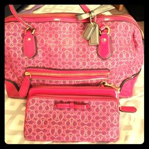 Coach Pink Purse and matching wallet